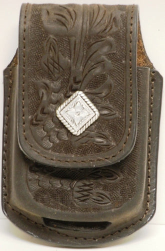 (MFW0689899CHTDC) Western Chocolate Floral Tooled Cell Phone Holder for Razor with Diamond Shaped Concho