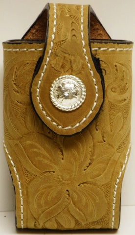 (MFW0689899DTFRCFP) Western Distressed Tan Floral Tooled Cell Phone Holder with Round Silver Concho