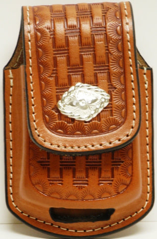 (MFW0689899TBWDC) Western Tan Baseketweave Cell Phone Holder for Razor with Diamond Shaped Silver Concho