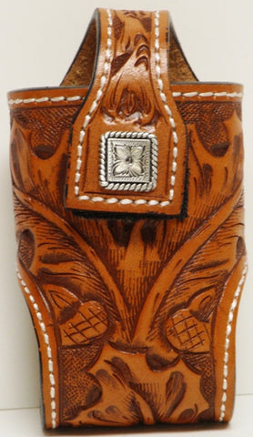(MFW0689899TFSCFP) Western Tan Floral Tooled Cell Phone Holder with Square Silver Concho