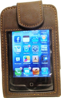 (MFW0691044) Western Brown Leather Cell Phone Holder with Clear Front and Swivel Belt Clip (Fits iPhone4)