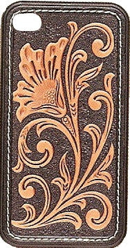 (MFW0694067) Western Black & Tan Leather iPhone 4 Protective Case
