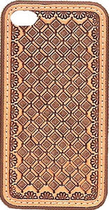 (MFW0694208) Western Tan Basketweave Leather iPhone 4 Protective Case