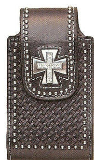 (MFW0694401) Western Black Leather Basketweave Cell Phone Holder with Silver Maltese Cross Concho (Fits iPhone4)