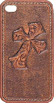 (MFW0696802) Western Leather Brown Diagonal Cross iPhone 4 Protective Case