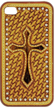 (MFW06970) Western iPhone 4 Snap-On Case with Basketweave and Hair-On Cross
