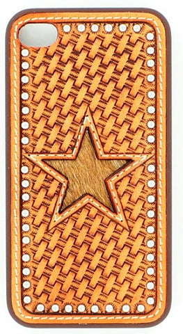 (MFW06972) Western iPhone 4 Snap-On Case with Basketweave and Hair-On Star