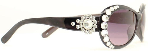 (MFW1602001) Western Sunglasses with Crystal Conchos - Black