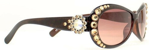 (MFW1602002) Western Sunglasses with Crystal Conchos - Brown