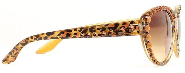(MFW1604402) Western Ladies' Sunglasses with Leopard Print - Brown