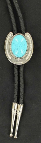 (MFW22108) Western Bolo with Horseshoe and Turquoise Stone