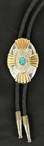 (MFW22113) Western Gold & Silver Oval Bolo with Turquoise Stone
