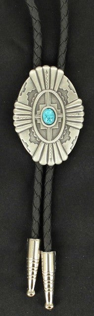 (MFW22114) Southwestern Oval Antique Silver Bolo with Turquoise Stone