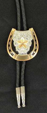 (MFW22704) Western Bolo with Gold Horseshoe & Star