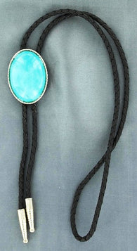 (MFW22838) Western Bolo with Oval Turquoise Stone