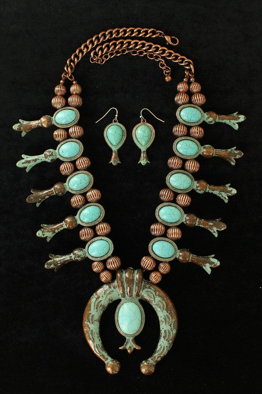 (MFW29041) Western Turquoise & Copper Squash Blossom Necklace & Earrings