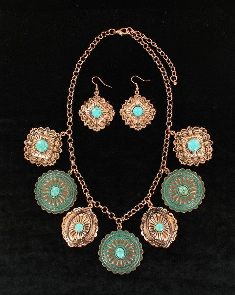 (MFW29975) Western Turquoise & Copper Concho Necklace and Earrings