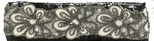 (MFW3007801) Western Sequined Floral Black Headband