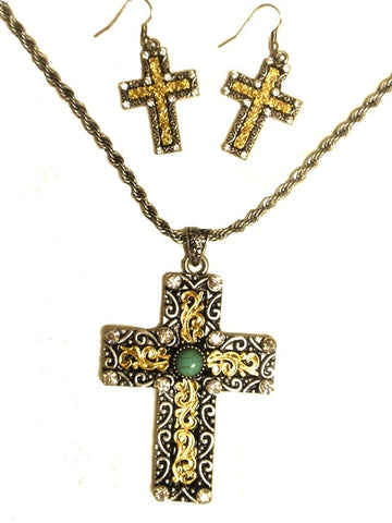 (MFW30302) Western Cross Necklace with Turquoise Stone and Matching Earrings