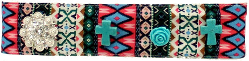 (MFW30594) Western Tribal Fabric Headband with Turquoise Crosses