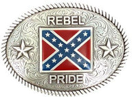 (MFW37052) Oval Rebel Pride Confederate Belt Buckle with Rope Edge