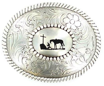 (MFW37056) Western Praying Cowboy Oval Belt Buckle