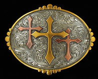 (MFW37113)  Western Silver & Gold Triple Cross Belt Buckle