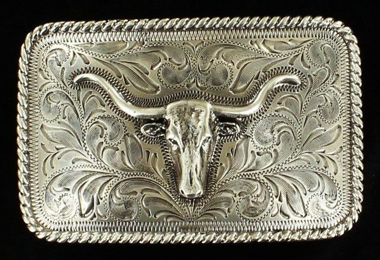 (MFW37524) Men's Longhorn Rectangular Silver Belt Buckle