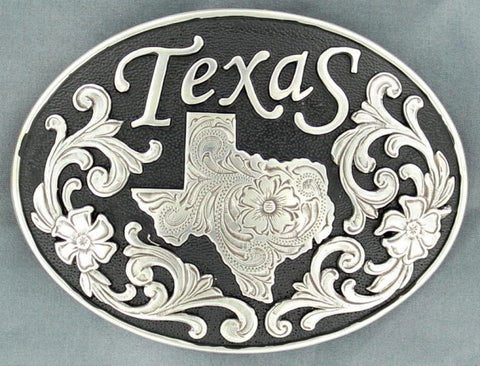 (MFW37674) Texas Floral Oval Belt Buckle