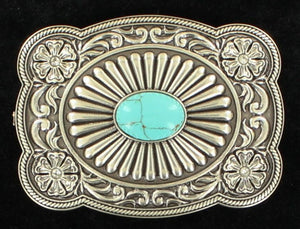 (MFW37974) Ladies' Silver & Turquoise Rectangular Scalloped Belt Buckle