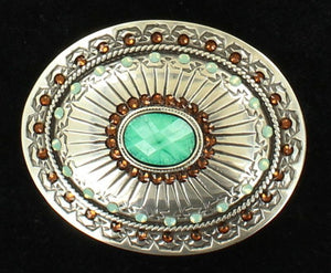 (MFW37975) Ladies' Western Oval Tribal Silver & Turquoise Belt Buckle