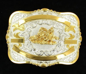 (MFW38570) Western Trophy Buckle with Team Roper and Free Engraving