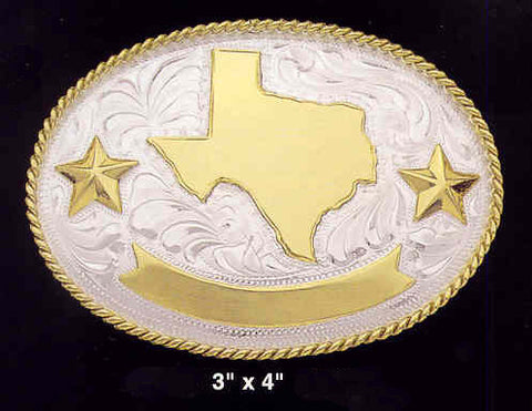 (MFWC10368) Silver Trophy Buckle - Texas Stars with Free Engraving