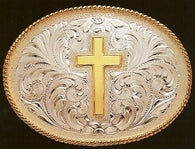 "(MFWC10370) ""Cross"" Silver Belt Buckle"