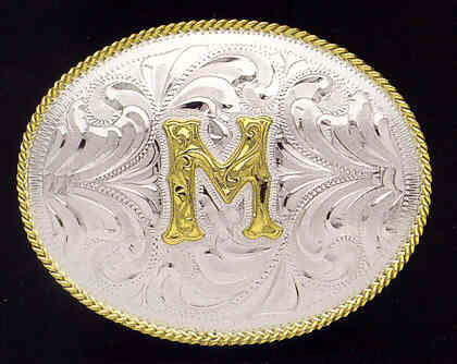 (MFWC10382) Classic Silver Buckle w/Personalized Letter