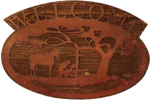 "(MFW94286) Western Praying Cowboy ""Welcome"" Wood Sign"