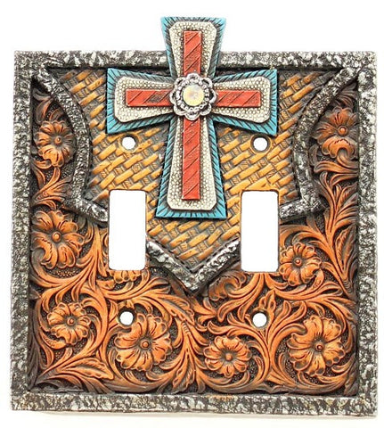 (MFW94303) Western Cross Double Light Switch Cover Plate