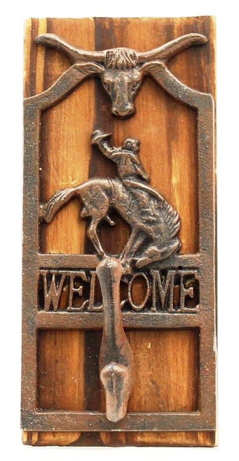 (MFW94793) Bustin' Bronc Metal & Wood Welcome Wall Hook