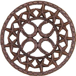 (MFW94845) Cast Iron Stars & Horseshoes Trivet