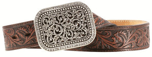(MFWA10006957) Ladies' Western Dark Brown Belt with Filagree Silver Buckle