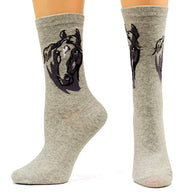 "(MFWA10012162) ""Horse Head"" Ladies' Fashion Crew Socks Heather"