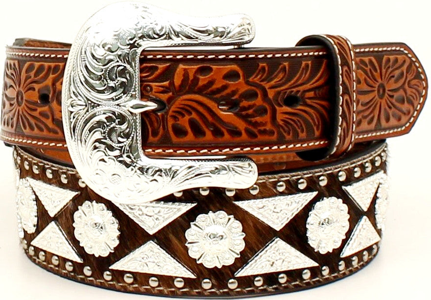 (MFWA1023808) Men's Leather Brown Tooled Belt with Half Diamond/Berry Conchos by Ariat