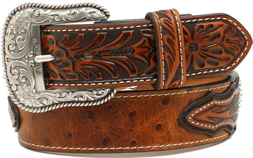 (MFWA1024402) Men's Western Ostrich Print Leather Brown Belt by Ariat