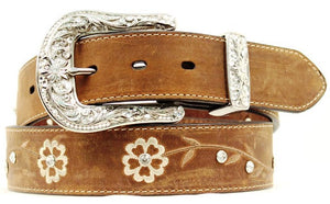 (MFWA1510202) Ladies' Western Fashion Belt Brown with Scrolling Flowers