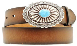 (MFWA1512002) Ladies' Western Distressed Brown Belt with Silver & Turquoise Buckle