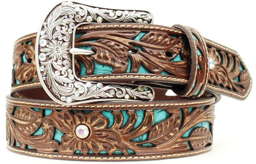 (MFWA1513402) Ladies' Western Brown Leather Belt with Turquoise Inlay 1-1/2