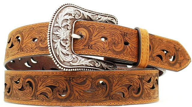 (MFWA1514802) Ladies' Western Brown Belt with Paisley Cut-Out Pattern 1-1/2