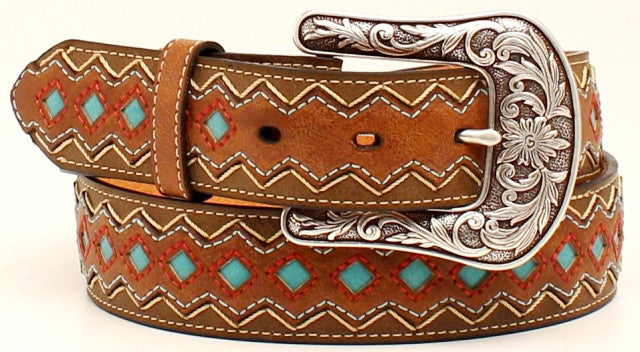 (MFWA1518202) Ladies' Western Brown Belt with Turquoise Diamond Pattern