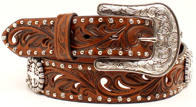 (MFWA1518602) Ladies' Western Brown Belt with Conchos & Rhinestones