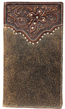Load image into Gallery viewer, (MFWA3513602) Western Tooled Overlay Rodeo Wallet with Diagonal Cross